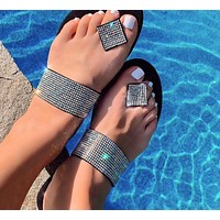 2020 women's new rhinestone sandals slippers shoes