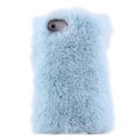 Sky Blue Soft Fur Hard Cover Protective Case For Iphone 5