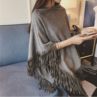 Batwing Fringed Sweater/Poncho
