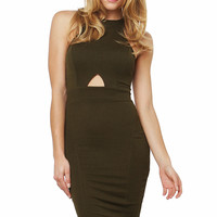 Midi Olive Sleeveless Dress - Olive