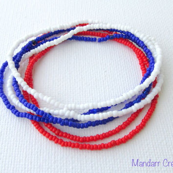 Red White and Blue Seed Bead Bracelets, Set of Six, Handmade Stretchy Jewelry