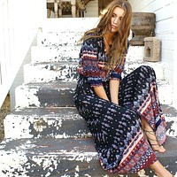 Fashion Retro Print V-Neck Middle Sleeve Row Buckle Cardigan Maxi Dress