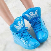 Sweet Sneakers Women Candy Color High Top Lace Up Couples Shoes Sports Shoes