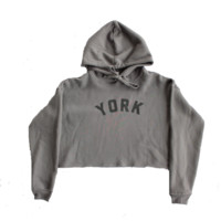 York Project Grey Cropped Hoodie