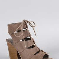 Qupid Lace Up Cutout Cage Chunky Heel