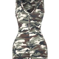 Casual Deep V-Neck Single Breasted Camouflage Romper