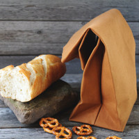 """The """"Brown"""" Bag // Caramel Brown UNWAXED Canvas Lunch Bag, an updated, eco-friendly classic"""