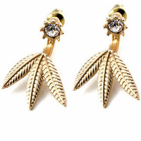 Palm Leaf Jacket Earrings