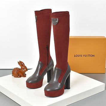 lv louis vuitton trending womens black leather side zip lace up ankle boots shoes high boots 262