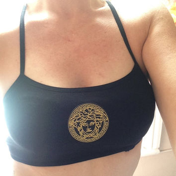 customised versace crop top