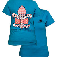 Southern Couture Preppy Fleur De Lis Chevron Pattern Bow Girlie Bright T Shirt