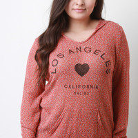 Marled Loose Knit Graphic Long Sleeves Hooded Top