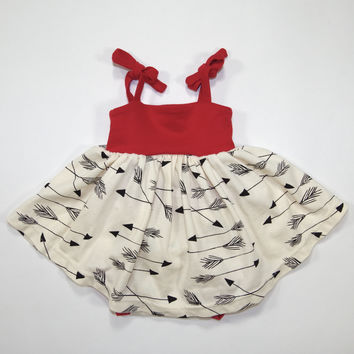 Arrows Organic Summer Dress in Red for Babies - Size 18-24 Months