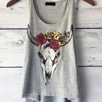 Bison Rose Skull Crop Tank Top