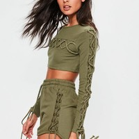 Missguided - Khaki Lace Up Side Jersey Runner Shorts