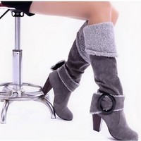 2014 NEW Hot women's Pull On High Heels knee high boots shoes Plus size 4-10.5