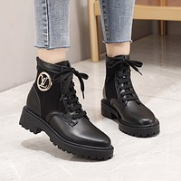 lv louis vuitton trending womens men leather side zip lace up ankle boots shoes high boots 115