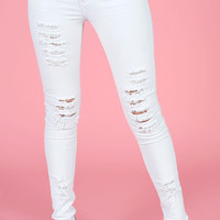 White Distressed Skinny Jeans - The Snooki Shop