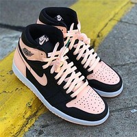 elainse29 NIKE AIR Jordan AJ 1st  generation two-layer real standard men and women shoes black nude