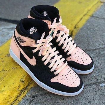 Wearwinds NIKE AIR Jordan AJ 1st  generation two-layer real standard men and women shoes black nude