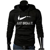 Fashionable Solid Fleece Hoodie Men's Pullover