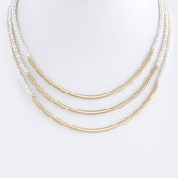 THREE TUBE LAYER PEARL NECKLACE SET