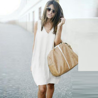 Dress Sleeveless Summer Women's Fashion One Piece Dress [4970298308]