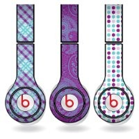 Purple & Teal Different Pattern Set of 3 Headphone Skins for Beats Solo HD Headphones - Removable Vinyl Decal!