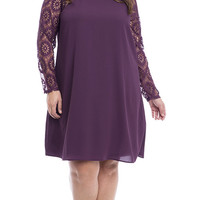 Plus Size Lace Sleeves Woven Shift Dress