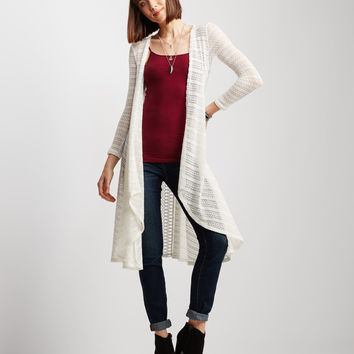 Open-Knit Duster Cardigan