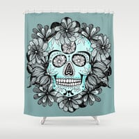 Blue Sugar Shower Curtain by Anchobee