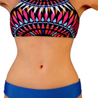 Vintage High Neck Tankini Swimsuit with Blue Bottom