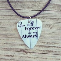 Women's Forever My Always Guitar Pick Necklace - Gray/White