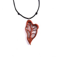 Wood Jewelry, Wooden Pendant, Wooden Tree of Life Necklace, Wooden Tree of Life Pendant, Wooden Jewelry, Heart Pendant, Wood Carved Pendant