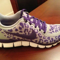 Womens Nike Free 5.0 V4 Leopard purple Running Shoe New Size 8.5