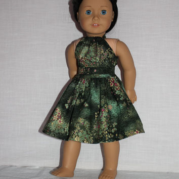 2 piece set! green floral halter dress with matching belt, 18 inch doll clothes, american girl, maplelea
