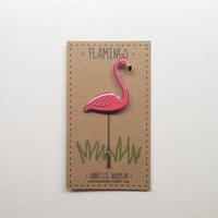 Illustrated Kitsch Plastic Pink Lawn Flamingo Pin