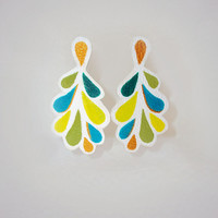 Statement Leather Earrings, Hand Painted, White Leather Earrings, Large Earrings, Leather Jewelry, Colorful, Turquoise, Green, Blue, Gold