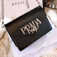 Prada 2018 counter limited edition leather diagonal shoulder bag F-BCZ(CJZX) black