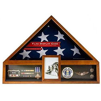 Flag Connections Military Veteran Flag and Medal Display Case - 5'x9.5' Shadow Box