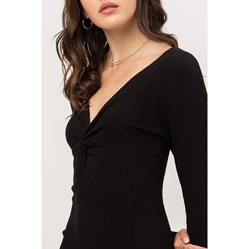 Fitted Ribbed Knit Twist Front Long Sleeve Mini Dress