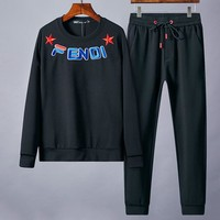 Boys & Men Fendi Fashion Casual Top Sweater Pullover Pants Trousers Set Two-Piece