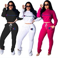 Champion Women Fashion Long Sleeve Top Pants Set Two-Piece