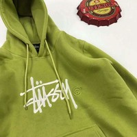 Stussy Round-neck Pullover Hoodies Couple Jacket Top Sweater Green B-A-XYCL