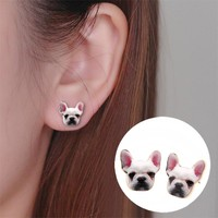2017 New Fashion Designed Cute Colorful Enamel Animal Dog Head Stud Earring Bulldog Earrings Puppy Dog Earrings for Women OED050