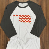 Oklahoma Chevron with Gray 3/4 Sleeves