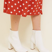 White Faux Snake Block Heel Ankle Boots   New Look