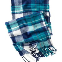 Old Navy Mens Plaid Scarf Size One Size - LIGHT TURQUOISE