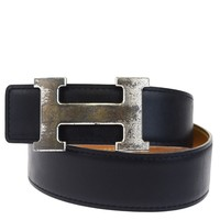 Auth HERMES Reversible Constance H Buckle Belt Leather Silver Black #75 04Z002