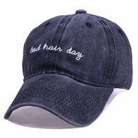 Baseball Caps Female Male  Cotton Dad Hat Casual Letter Bad Hair Day Embroidery Snapback  Cap for Men Women